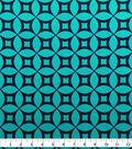 Knit Prints Pima Cotton-Navy Turquoise Geo Circles