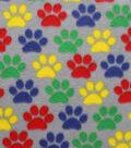 Blizzard Fleece Fabric 59\u0022-Bright Paw Prints