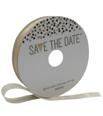 Save the Date 5/8'' X 30' Ribbon-Champagne Sheer