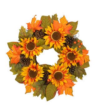 Blooming Autumn Sunflower, Pinecone & Leaf Wreath