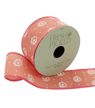 Fresh Picked Desert Aura Ribbon 1.5''x12'-White Floral on Peach