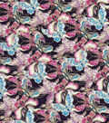 Asian Inspired Cotton Fabric 43\u0027\u0027-Metallic Packed Butterflies on Navy