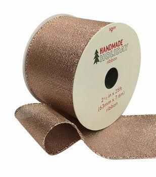 Handmade Holiday Christmas Lame Ribbon 2.5''x25'-Rose Gold