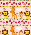 Snuggle Flannel Fabric 41\u0022-Jungle Animal Stripe
