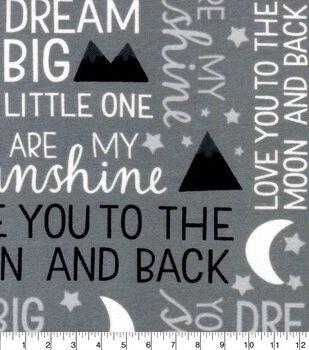 Nursery Flannel Fabric-Gray Words