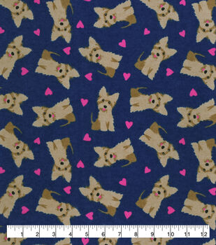 Valentine's Day Snuggle Flannel Fabric-Terriers & Hearts