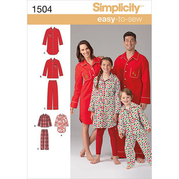 Simplicity Pattern 1504A Adult & Children's Sleepwear-Size XS-L/XS-XL