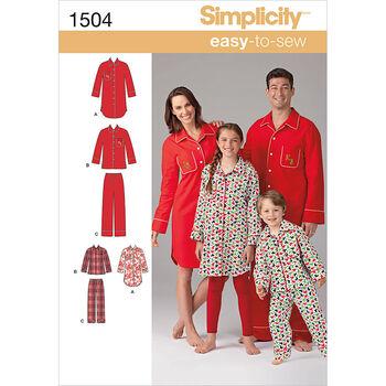 Simplicity Pattern 1504A Adult & Children's Sleepwear-Size XS-L/XS-XL