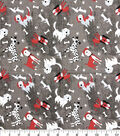 Novelty Cotton Fabric -Tossed Dogs Black, White & Red