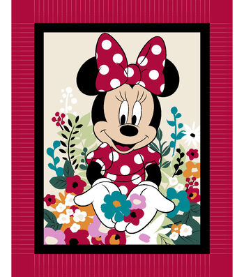 """Minnie Mouse No-Sew Fleece Throw 48""""-Floral"""