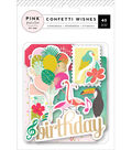 Pink Paislee Confetti Wishes 40 pk Ephemera Die-Cuts-Matte Gold Foil