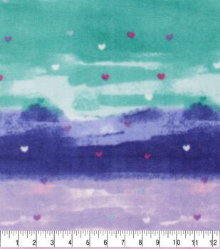 Valentine's Day Anti-Pill Plush Fleece Fabric-Small Hearts on Watercolor