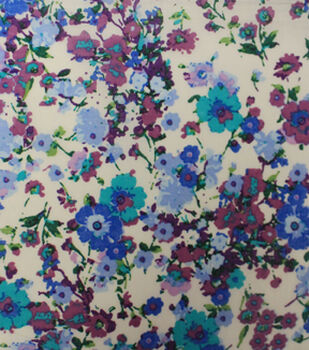 Warm Weather Apparel Fabric-Lawn Floral Spray Purple