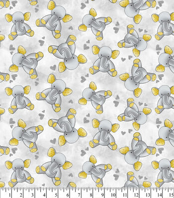 Nursery Flannel Fabric -Gray Elephant