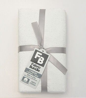 "Pre-Cut Quilt Fabrics 18""x21""-Glitter Cream & White"