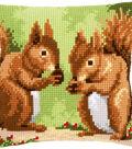 Vervaco 16\u0027\u0027x16\u0027\u0027 Cushion Counted Cross Stitch Kit-Nibbling Squirrels