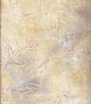 """Batik Cotton Fabric 44""""-Large Flowers Ivory"""