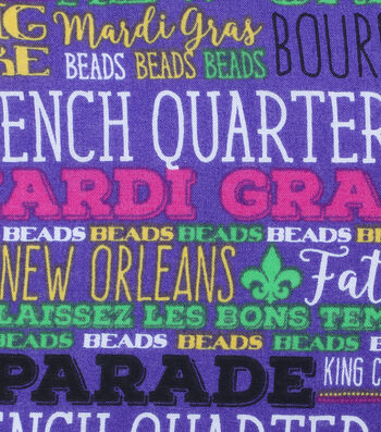 Mardi Gras Cotton Fabric-French Quarter Words