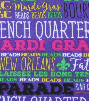 Mardi Gras Cotton Fabric-French Quarter Words