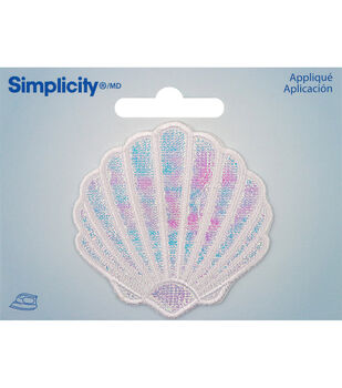Simplicity Medium Clam Shell Iron-on Applique-Iridescent White