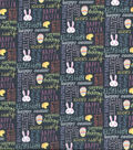 Easter Cotton Fabric 43\u0027\u0027-Gray Happy Easter