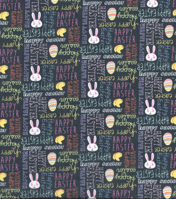 Easter Cotton Fabric 43''-Gray Happy Easter