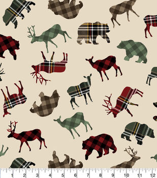 Super Snuggle Flannel Fabric-Patterned Trap Wilderness Animals