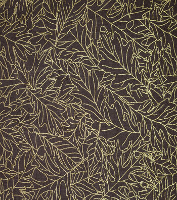 Harvest Cotton Fabric-Leaves Outlines on Brown