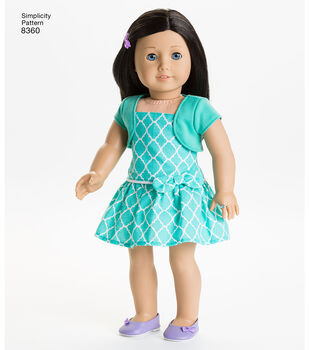 Simplicity Pattern 8360 18'' Doll American Girl Clothes