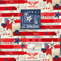 Patriotic Cotton Fabric-Heart of America
