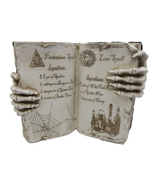 Maker's Halloween Spell Book with Skeleton Hands Table Decor