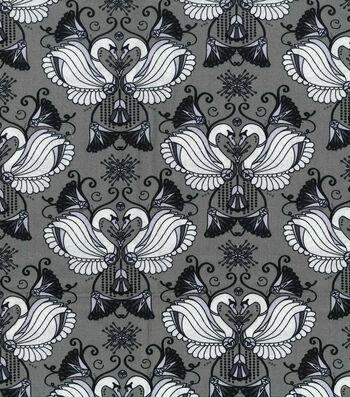 Keepsake Callico Cotton Fabric-Swans On Gray