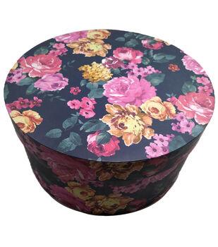 Round Photo Storage Box-Pink Floral