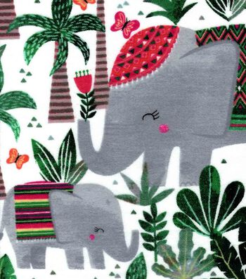 Snuggle Flannel Fabric 42''-Tribal Elephant
