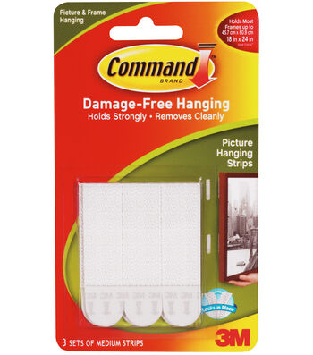 "Command Medium Picture Hanging Strips .5""x2.75"" 3 Set/Pkg-White"