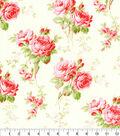 Premium Cotton Fabric-Cream Floral