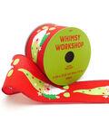 Maker\u0027s Holiday Christmas Whimsy Workshop Ribbon 2.5\u0027\u0027x25\u0027-Gnomes on Red
