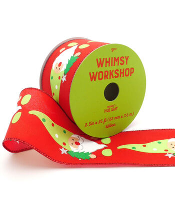 Maker's Holiday Christmas Whimsy Workshop Ribbon 2.5''x25'-Gnomes on Red