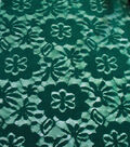 Sew Sweet Flocked Floral Lace Fabric 58\u0022-Evergreen