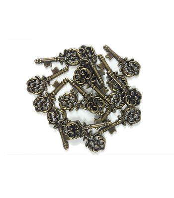 "Steampunk Keys Embellishments 1.5""-Antique Gold"