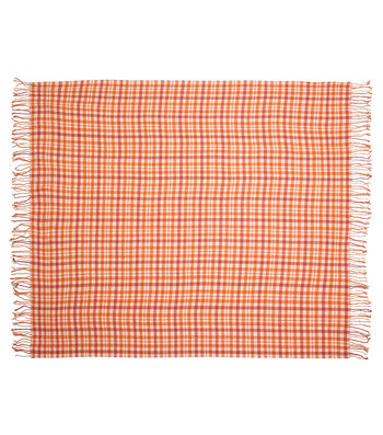 Simply Autumn 50x60'' Plaid Throw-Cream & Orange