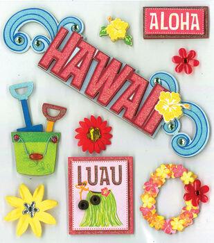 K&Company 8 pk Grand Adhesions Dimensional Stickers-Hawaiian Bliss