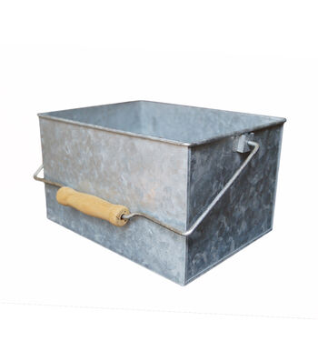 Hampton Art Galvanized Rectangle Bucket with Wood Handle