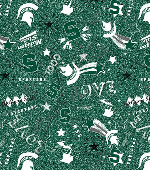 Michigan State Spartans Jersey Knit Flannel Fabric-Team Pride