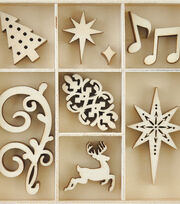 Kaisercraft Christmas Jewel Mini Themed Wooden Flourishes-Fancy Xmas, , hi-res