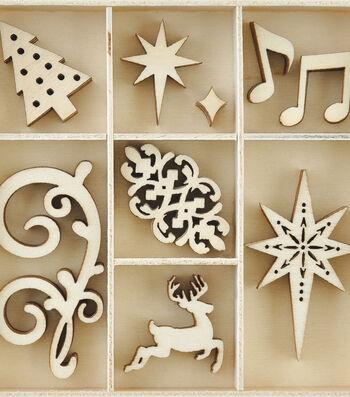Kaisercraft Christmas Jewel Mini Themed Wooden Flourishes-Fancy Xmas