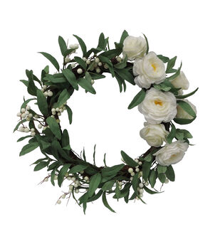 Fresh Picked Spring 18'' Roses & Berry Wreath-White
