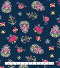 Novelty Cotton Fabric-Glitter Skulls & Anchors