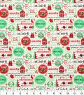 Holiday Cotton Fabric -Christmas Words