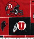 University of Utah Utes Fleece Fabric -Block